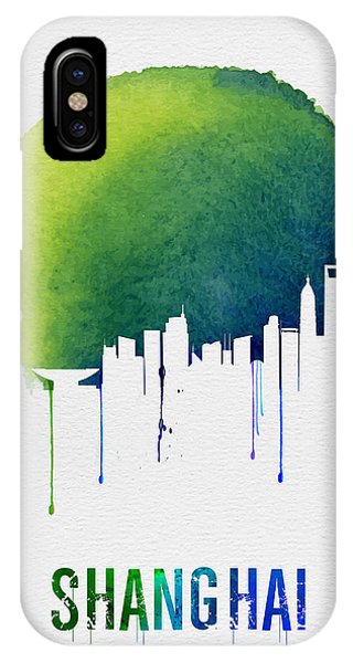 Chinese iPhone Case - Shanghai Skyline Blue by Naxart Studio