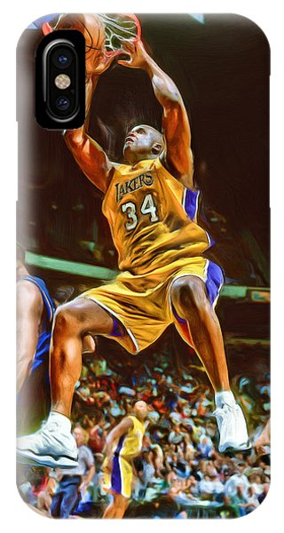 Tickets iPhone Case - Shaquille O'neal Los Angeles Lakers Oil Art by Joe Hamilton