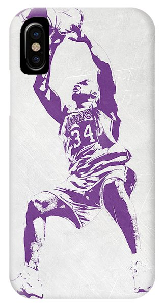 Tickets iPhone Case - Shaquille O'neal Los Angeles Lakers Pixel Art by Joe Hamilton