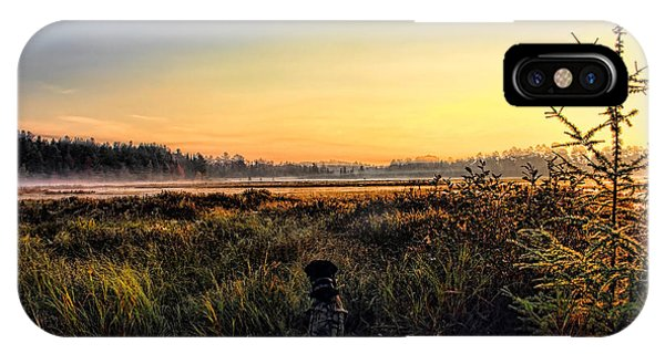 Sharing A September Sunrise With A Retriever IPhone Case