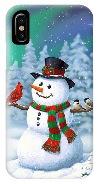 Sharing The Wonder - Christmas Snowman And Birds IPhone Case