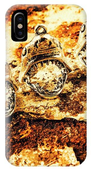 Pendant iPhone Case - Shark Pendants On Rusty Marine Background by Jorgo Photography - Wall Art Gallery