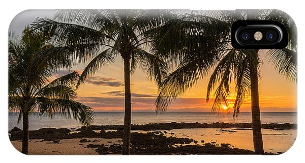 Palm Tree iPhone X Case - Sharks Cove Sunset 4 - Oahu Hawaii by Brian Harig