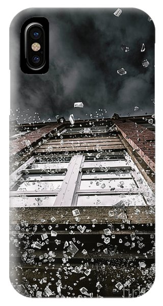 Dark Clouds iPhone Case - Shattering Pieces Of Glass Falling From Window by Jorgo Photography - Wall Art Gallery