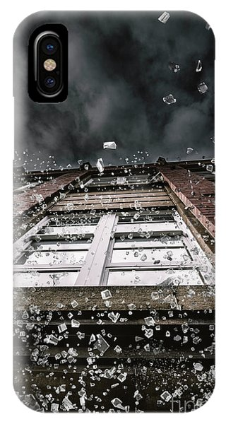 Explosion iPhone X Case - Shattering Pieces Of Glass Falling From Window by Jorgo Photography - Wall Art Gallery
