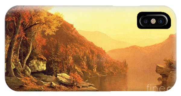 Orange Sunset iPhone Case - Shawanagunk Mountains by Jervis McEntee