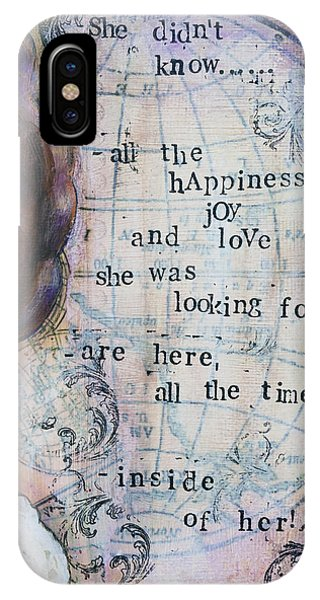 She Didn't Know - Inspirational Spiritual Mixed Media Art IPhone Case