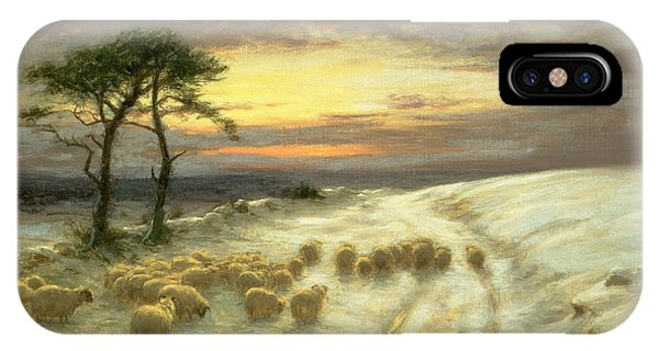 Hill iPhone Case - Sheep In The Snow by Joseph Farquharson