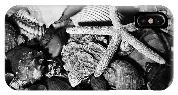 IPhone Case featuring the photograph Shells And Starfish In Black And White by Angie Tirado