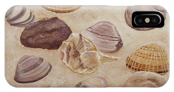 IPhone Case featuring the painting Shells And Stones by Angeles M Pomata