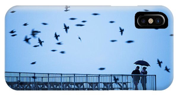 Sheltering Under An Umbrella Watching The Birds IPhone Case