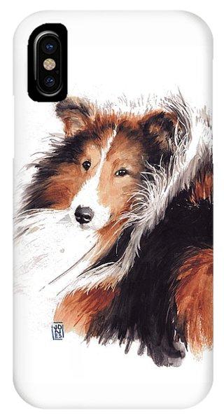 Watercolor Pet Portraits iPhone Case - Sheltie by Debra Jones