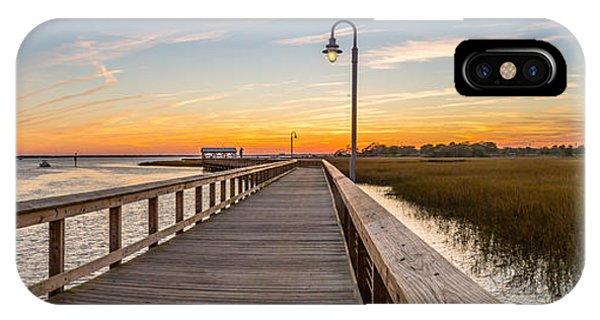 Shem Creek Pier Panoramic IPhone Case