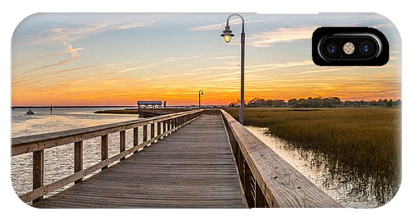 Shem Creek Pier Panoramic IPhone Case
