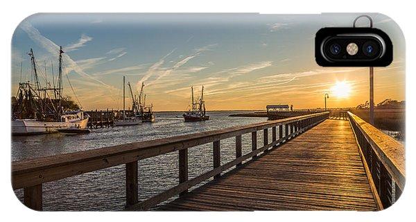 Shem Creek Pier Sunset - Mt. Pleasant Sc IPhone Case