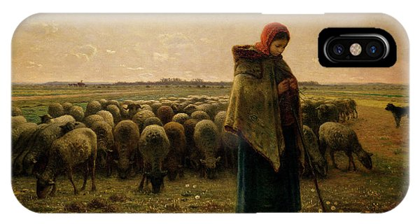 Rural Scenes iPhone Case - Shepherdess With Her Flock by Jean Francois Millet