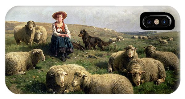 Farm iPhone Case - Shepherdess With Sheep In A Landscape by C Leemputten and T Gerard