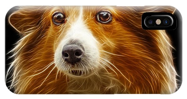 IPhone Case featuring the mixed media Shetland Sheepdog Dog Art 9973 - Bb by James Ahn