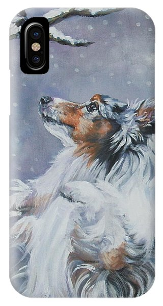 Shetland Sheepdog With Chickadee IPhone Case