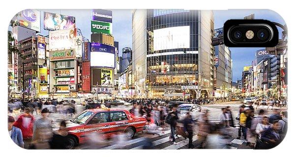 Shibuya Crossing At Night In Tokyo IPhone Case