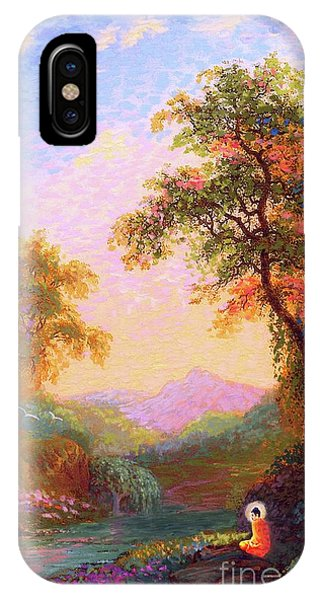 Fantasy Art iPhone Case - Shining Peace Buddha Meditation by Jane Small