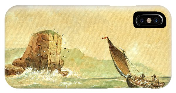 Ship iPhone Case - Ship At The Storm by Juan  Bosco