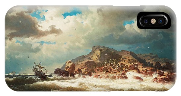 Swedish Painters iPhone Case - Ship By The Coast by Marcus Larson