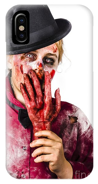 Ghastly iPhone Case - Shocked Zombie Holding Severed Hand. Dead Silence by Jorgo Photography - Wall Art Gallery