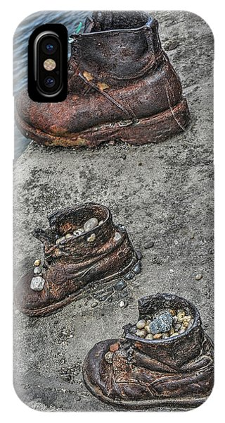 IPhone Case featuring the photograph Shoes On The Danube by Michael Kirk