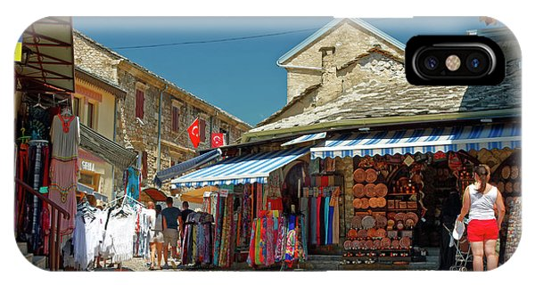Mostar iPhone Case - Shops And Cobblestones by Sally Weigand