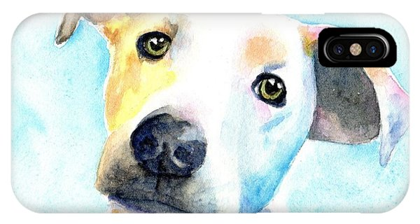Watercolor Pet Portraits iPhone Case - Short Hair White And Brown Dog by Carlin Blahnik CarlinArtWatercolor