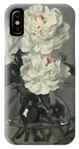 Showy White Peonies In Glass Pitcher IPhone Case