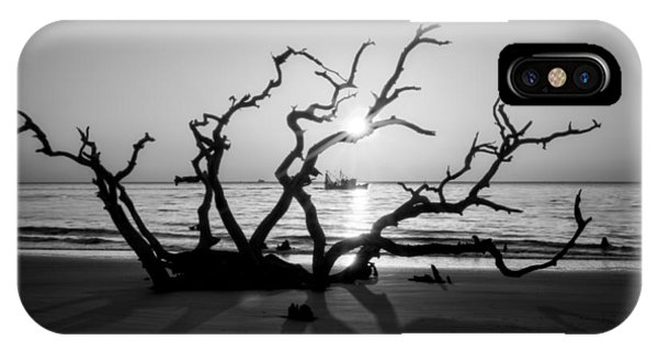 Shrimp Boat Off Driftwood Beach In Black And White IPhone Case