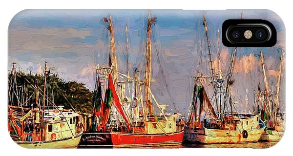 Shrimp Boats Shem Creek In Mt. Pleasant  South Carolina Sunset IPhone Case