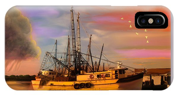 Shrimpers At Dock IPhone Case