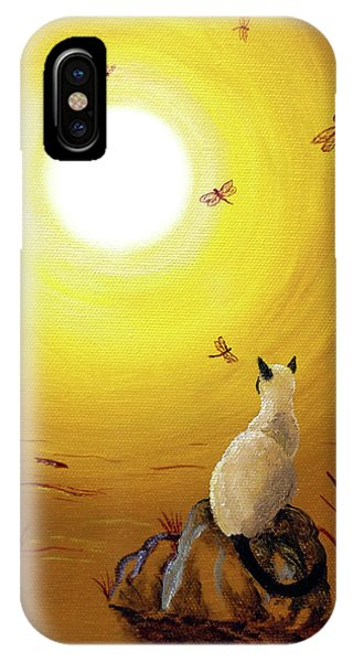Siamese Cat With Red Dragonflies IPhone Case