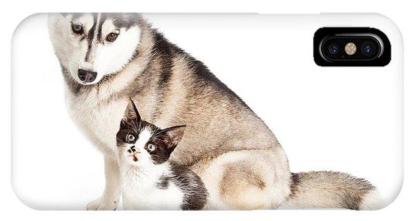 Siberian Husky Dog Sitting With Little Kitten IPhone Case