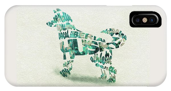 Siberian Husky Watercolor Painting / Typographic Art IPhone Case