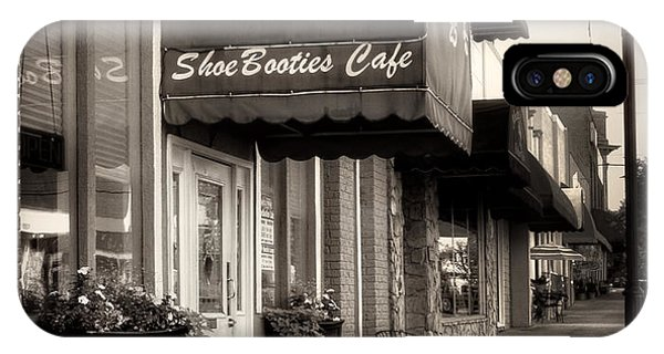 Sidewalk At Shoebooties Cafe In Black And White IPhone Case