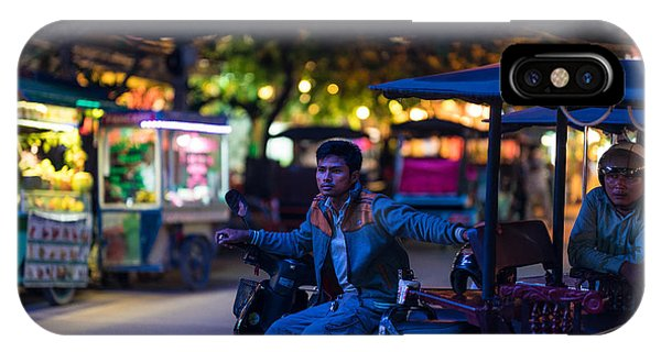 Cambodia iPhone Case - Siem Reap Night Tuk Tuk Driver by Mike Reid