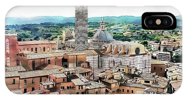 IPhone Case featuring the digital art Siena Duomo From The Torre Del Mangia by Joseph Hendrix