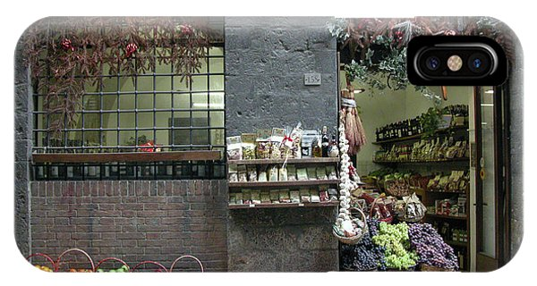 IPhone Case featuring the photograph Siena Italy Fruit Shop by Mark Czerniec