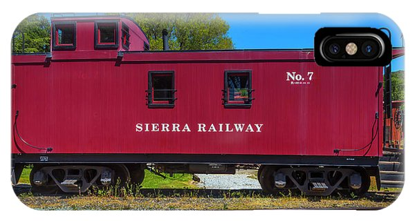 Red Caboose iPhone Case - Sierra Railway Red Caboose No 7 by Garry Gay