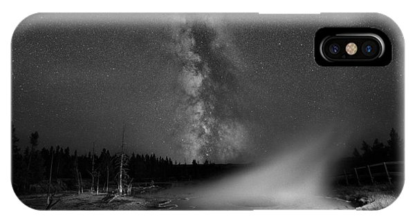 Yellowstone National Park iPhone Case - Silex Spring Milky Way Bw by Michael Ver Sprill