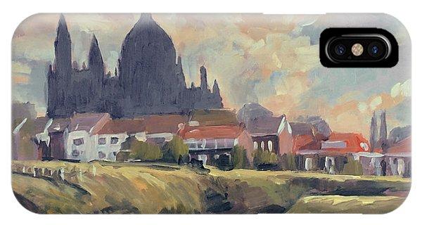 iPhone Case - Silhouet Saint Lambertus Church Maastricht by Nop Briex