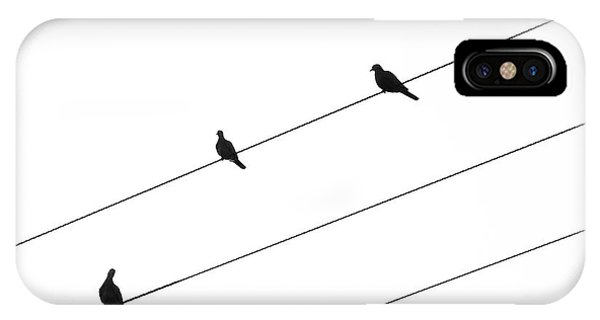 IPhone Case featuring the photograph Silhouette Of Birds Sitting On Electric Cables by Michalakis Ppalis
