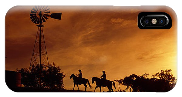Silhouette Of Two Horse Riders IPhone Case