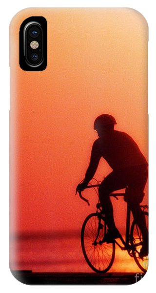 Silhouetted Bike Rider Sunrise Chicago Lake Front  IPhone Case