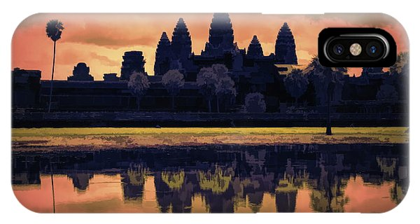 Silhouettes Angkor Wat Cambodia Mixed Media  IPhone Case