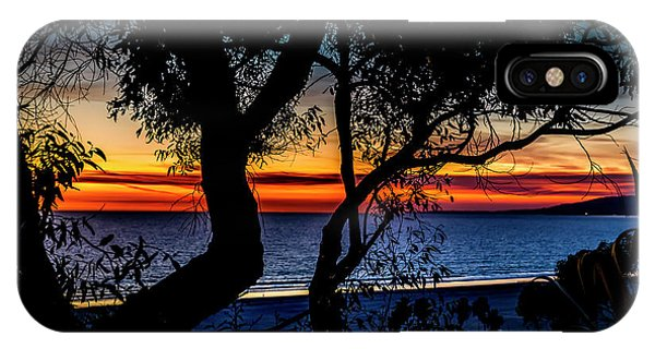 Silhouettes Over Blue Water IPhone Case